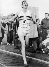 Bannister crosses the line in 3:59:4