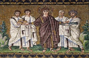A mosiac of Jesus feeding the 5000 in the Basilica of Sant' Appolinare Nuovo in Ravenna
